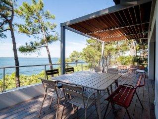 Pyla: Maison de standing au bord de l'eau, vue exceptionnelle bassin / ocean