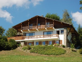 Spacious, tranquil, 4 star family chalet with stunning views of Mont Blanc.