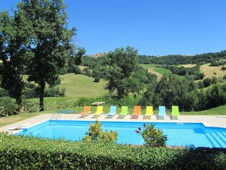 Rural Villa with Views of Gualdo & Mountains, Private Pool, Roof Terrace