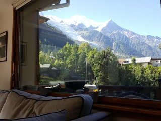 Light airy, well equipped rental, central Chamonix with views of Mont-Blanc