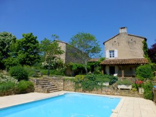 Restored farmhouse, stunning views, very quiet and private. Pool. Wifi