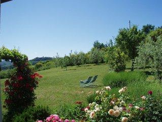 Villa con panorama eccezionale sulle colline del Chianti e grande giardino