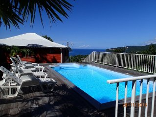 Villa créole 4 étoiles avec piscine, vue sur mer et ilets Pigeon
