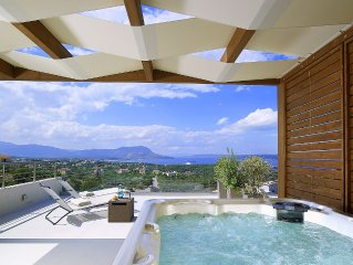 Elegant villa with unbeatable sea view by the outdoor hot tub
