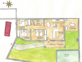 Maison neuve cloturee, avec PISCINE CHAUFFEE, parking privatif, acces handicape