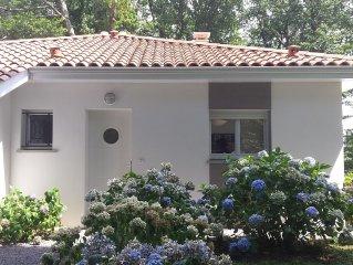 Villa neuve avec terrasse sur grand terrain arbore.