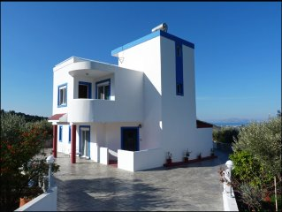 Detached Secluded Country Villa in Olive Grove with Panoramic Sea-Mountain View