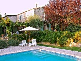 Charming stone house near Uzès 4 bedrooms,2 bathrooms,heated pool,garden & Wifi