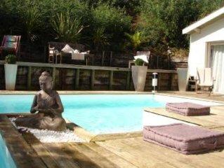 Villa tout confort (5* préfect.), belle vue Bassin, piscine chauffée, centre vil