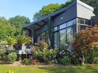 Maison d'architecte plain pied, sans vis a vis, grand jardin paysage, SPA ext.
