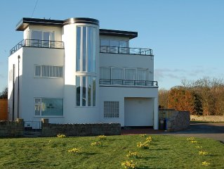 Luxury Art Deco house with stunnng sea views!  Directly opposite The Haven beach