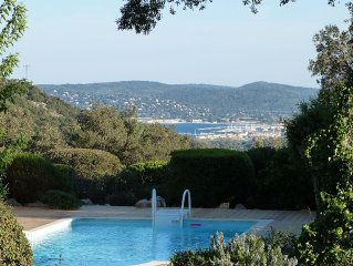 Charming villa with stunning sea views of the Gulf of St Tropez