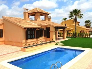 detached villa with private pool on golf course with fantastic views