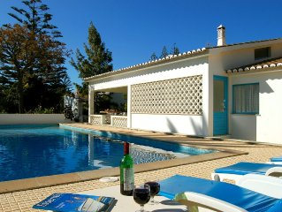 Spacious villa with large private gardens, heated pool and close to beach