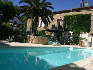Traditional French house with Mediterranean garden and pool, sleeps 10-12