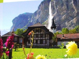Holiday apartment : IN A CHARMING CHALET: VIEWS OF MOUNTAINS, WATERFALL
