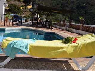 Confortable charming family house private pool near the sea Ojen andalusian town