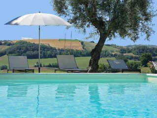 Private villa with pool, panoramic view, equipped outdoor spaces, Le Marche