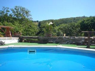 Pretty stone cottage, heated pool, woodland view, terrace, big balcony & garden