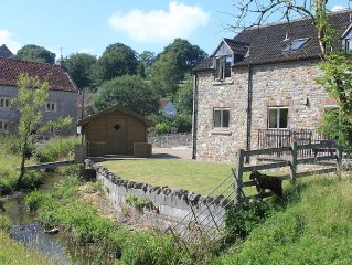 Contemporary Holiday Cottage by leat of a river, rural views, 11 miles from Bath