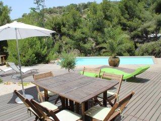Appartement tout confort dans villa avec piscine  dans une Calanque privée