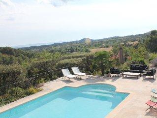 Traditional stone Provencal villa; sweeping views over Luberon; idyllic setting
