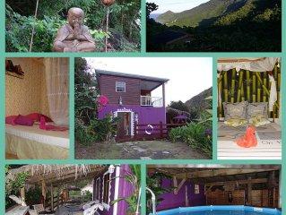 Villa avec terrasse en bois, pergola en feuilles de palmier et piscine privée