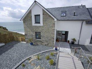Modern Luxury sleeps 10 house Seafront Porthleven, hot tub