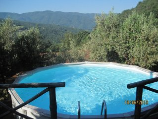 Peaceful rustic house with stunning views, private pool, garden and pergola.
