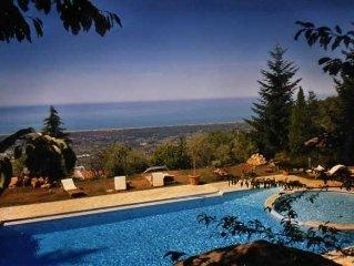 Villa with stunning view of the Versilia coast line, pool, huge park, 12 people