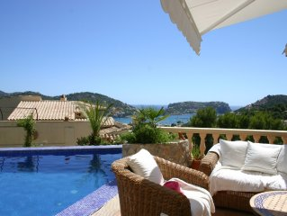 Finca with enchanting romantic harbor and sea views and pool in Puerto Andratx