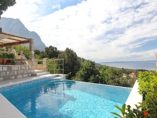 Villa with Swimmingpool, barbecue , terrace with sea view, up to 6 people