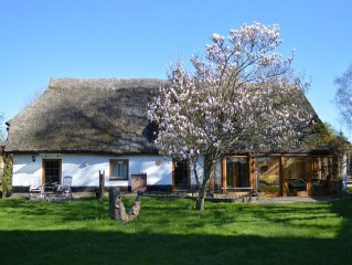 Original thatched roof house in quiet village center and Bodden close