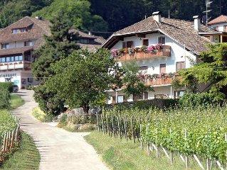 Bauernhof inmitten von Obstbaumen mit herrlichem Panoramablick