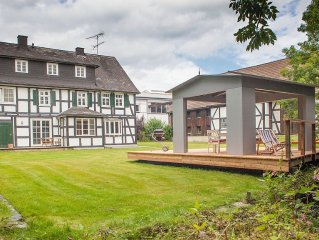 Half-timbered house of a former watermill, 600 sqm garden