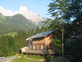 Austrian finesse in our wooden chalet for 8, free WIFI, only  300m from slopes