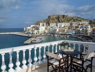 Ferienhaus, mit einer wunderbaren Aussicht auf dem Hafen von Pigadia.