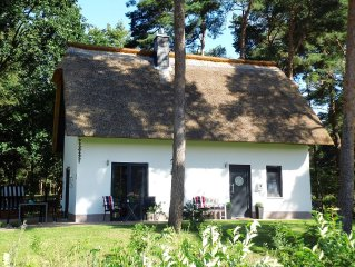 Charming cottage, lovingly furnished, including a sauna, fireplace, WiFi, wheels