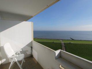 2-Zi-Fewo für 2-3 Personen mit herrlichem Seeblick auf Nordsee u. Elbe am Deich