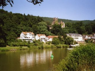 Sonnige Wohnung in traumhafter Lage am Fluß, mit Burgblick von der Terrasse
