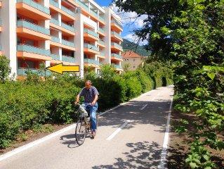 Ferienwohnung in ruhiger Lage, im Zentrum Bozens, mit Terrasse an der Promenade