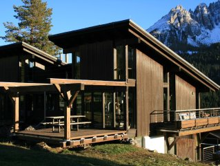 Architect house Karersee, overlooking Rosengarten, Latemar and Western Alps