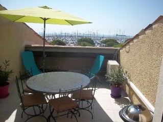 Apartment 100 m from the beach, with 19-m2 terrace, sea view!