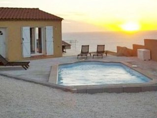 Villa with own pool,walk to beach and village. Wonderful views of the Med.