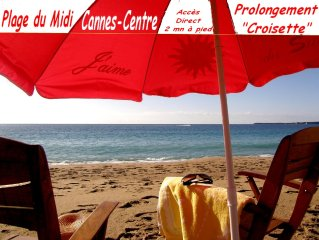 Cannes Beach. Appart UP Seaview 36 m2. Top Design. Pr. Center. Pool, Private,