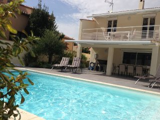 Villa climatisee 2x80m2, classee 5*, 9/11 pers, pisc. chauffee, plage 7km, ANCV