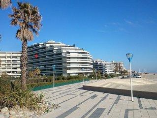 Appartement front de mer immeuble de standing Canet Sud, parking et WIFI gratuit