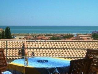 Saint pierre la mer maison + terrasse et vue panoramique sur la mediterrannée