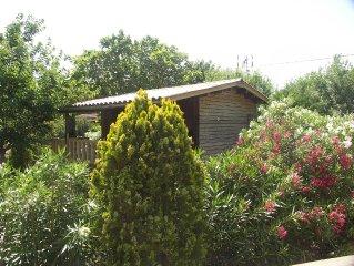 Chalet en bois, avec une grande terrasse