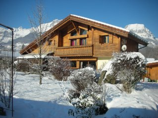 Chalet private heated pool and unobstructed view of Mont Blanc